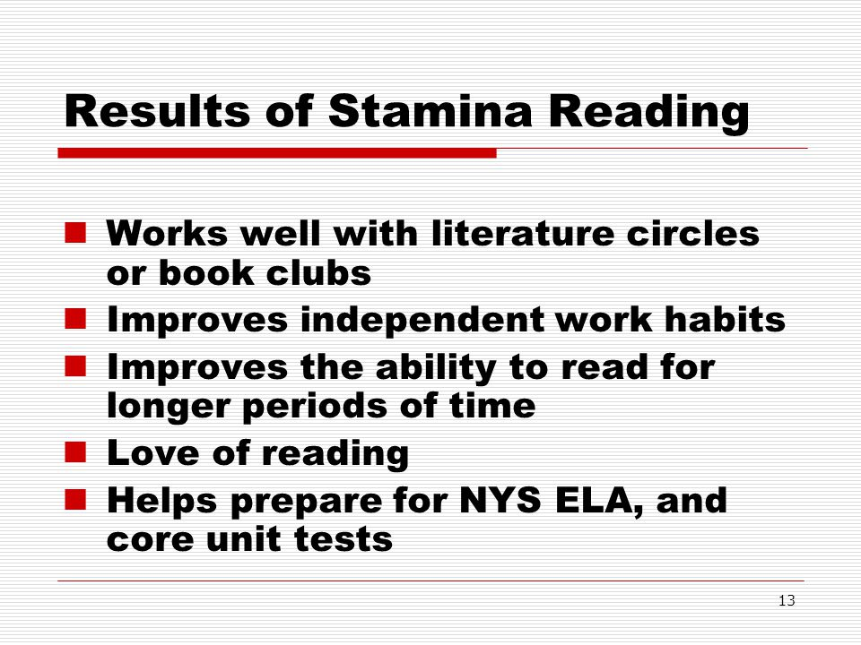 Results of Stamina Reading