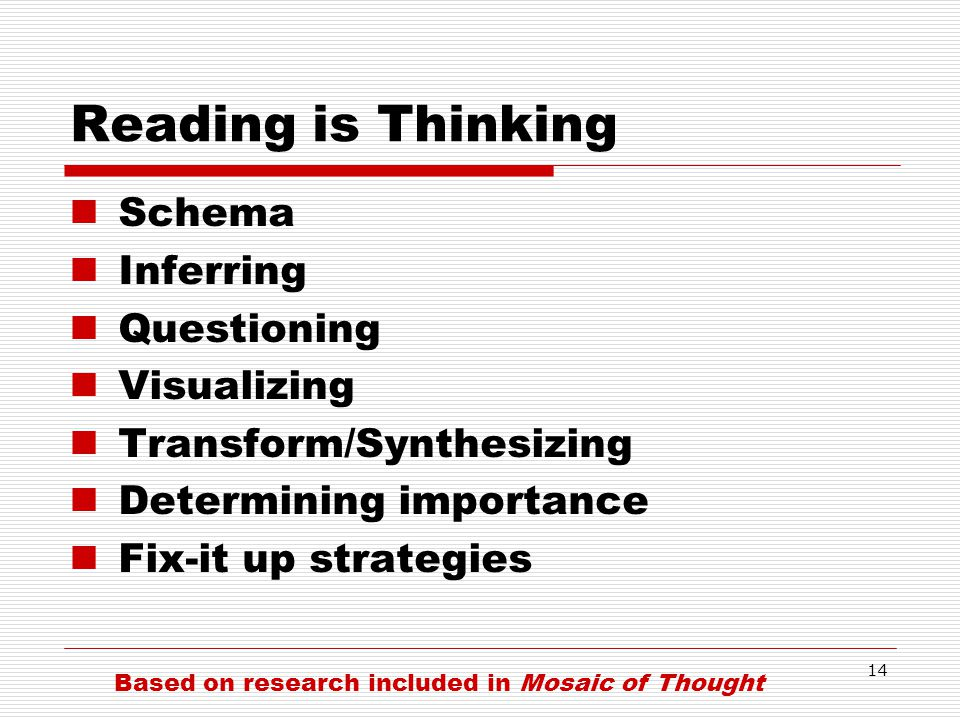 Reading is Thinking Schema Inferring Questioning Visualizing