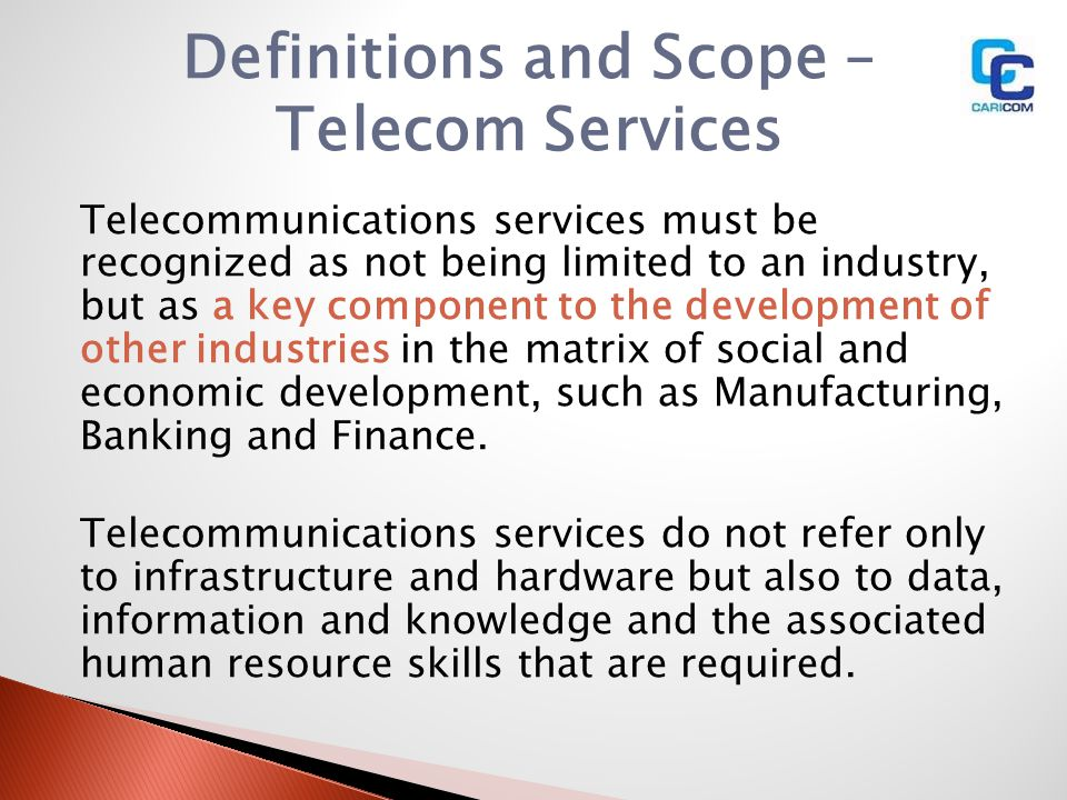 Definitions and Scope – Telecom Services