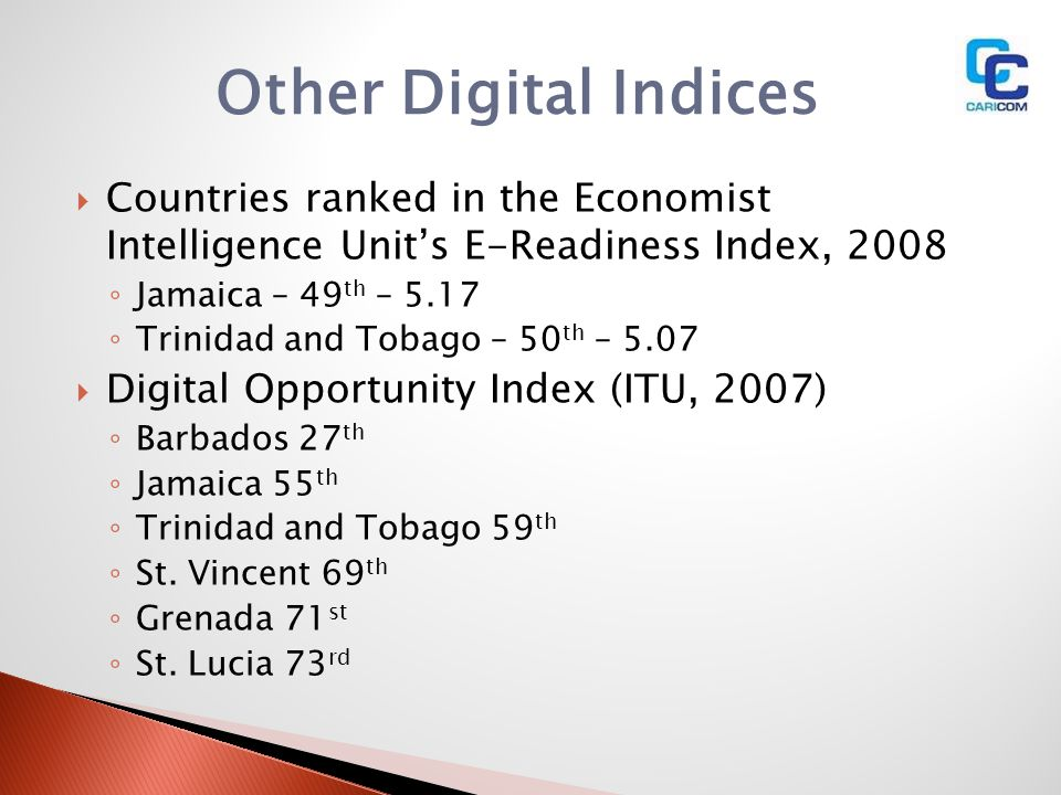 Other Digital Indices Countries ranked in the Economist Intelligence Unit's E-Readiness Index, 2008.