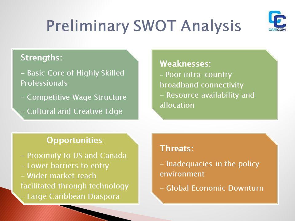 Preliminary SWOT Analysis