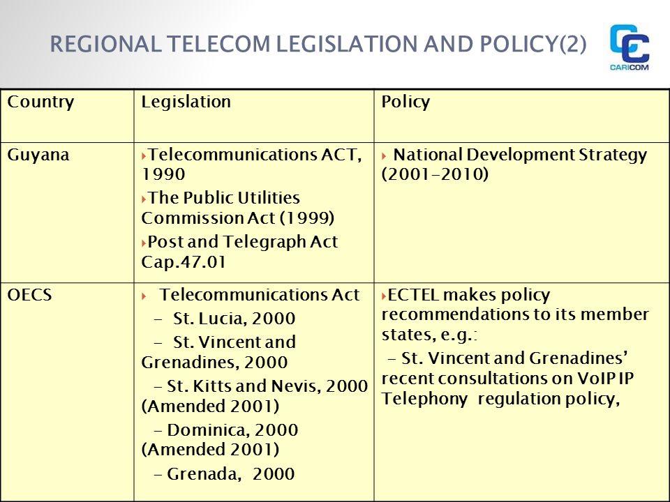 REGIONAL TELECOM LEGISLATION AND POLICY(2)