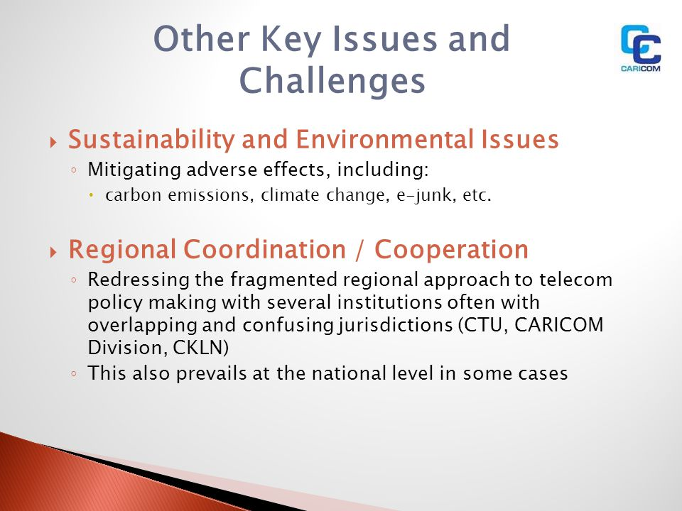 Other Key Issues and Challenges