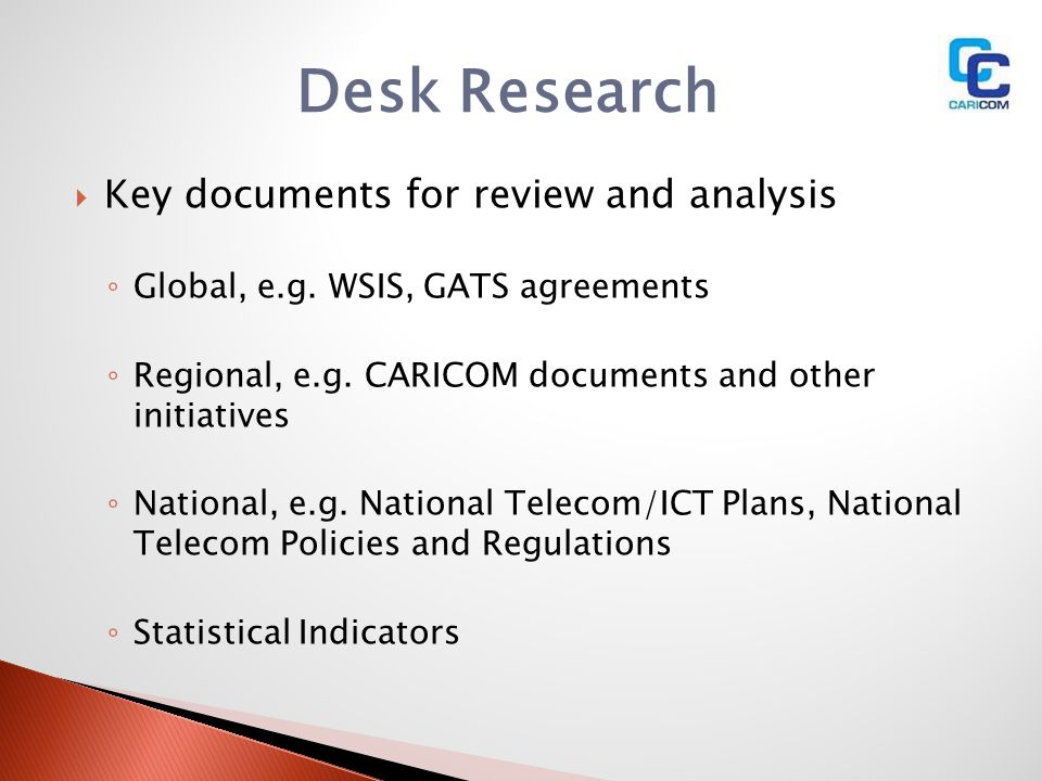 Desk Research Key documents for review and analysis