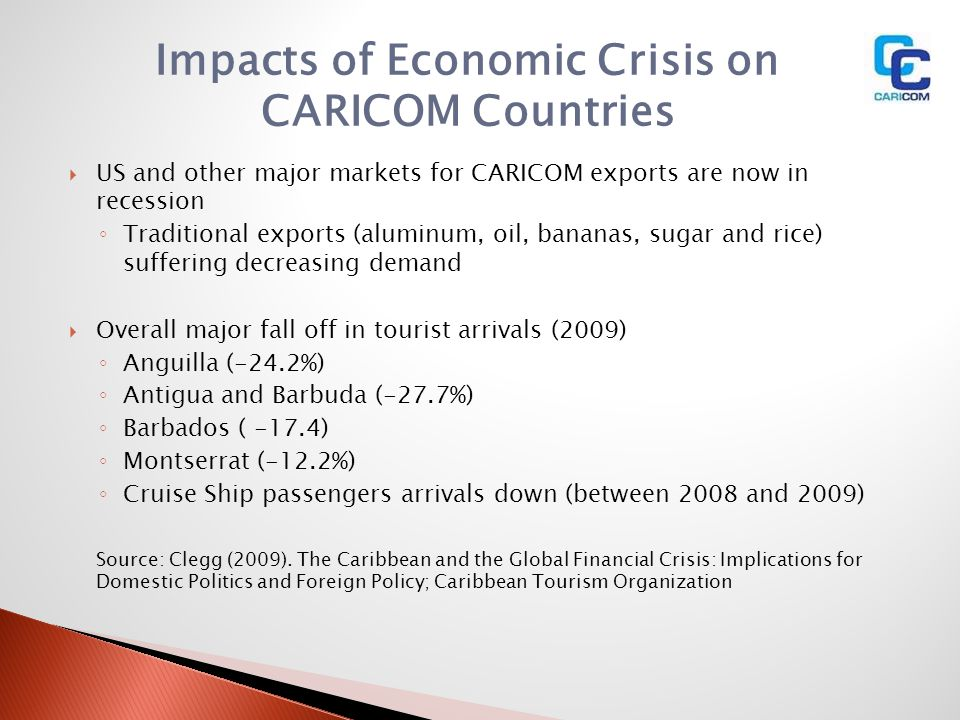 Impacts of Economic Crisis on CARICOM Countries