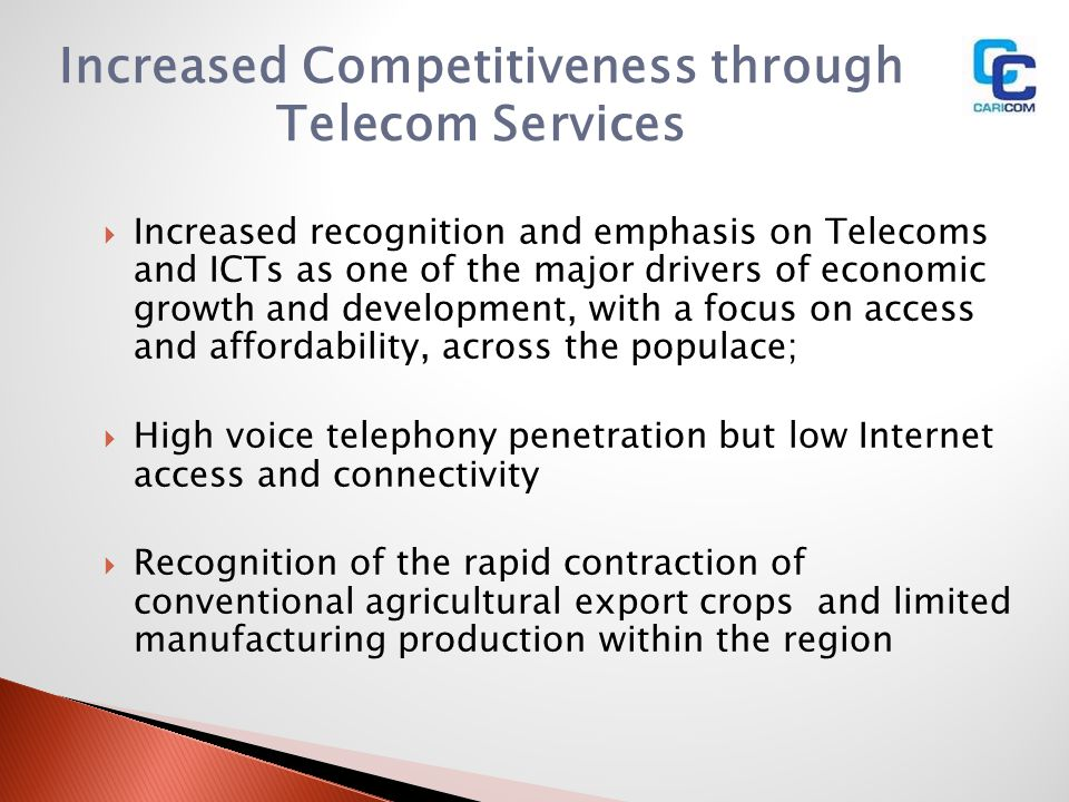 Increased Competitiveness through Telecom Services