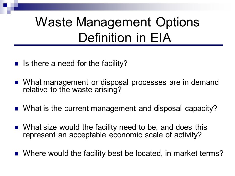 Waste Management Options Definition in EIA