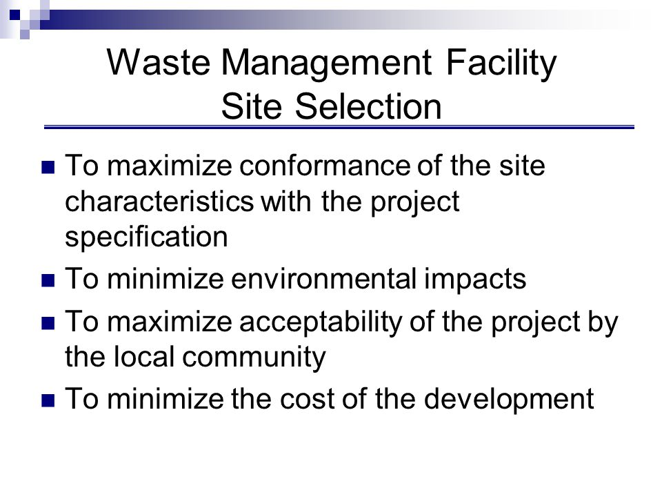 Waste Management Facility Site Selection