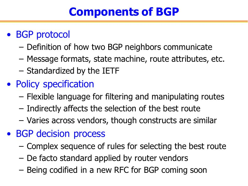 Components of BGP BGP protocol Policy specification