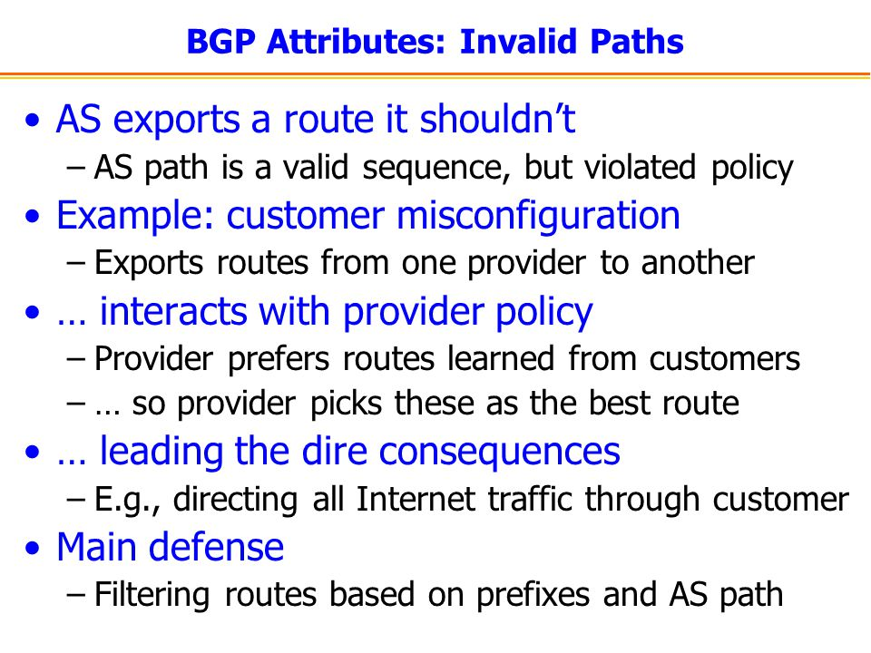 BGP Attributes: Invalid Paths