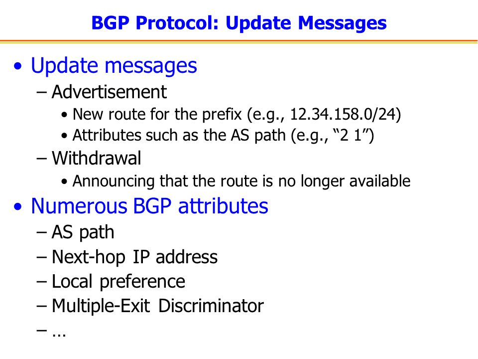 BGP Protocol: Update Messages