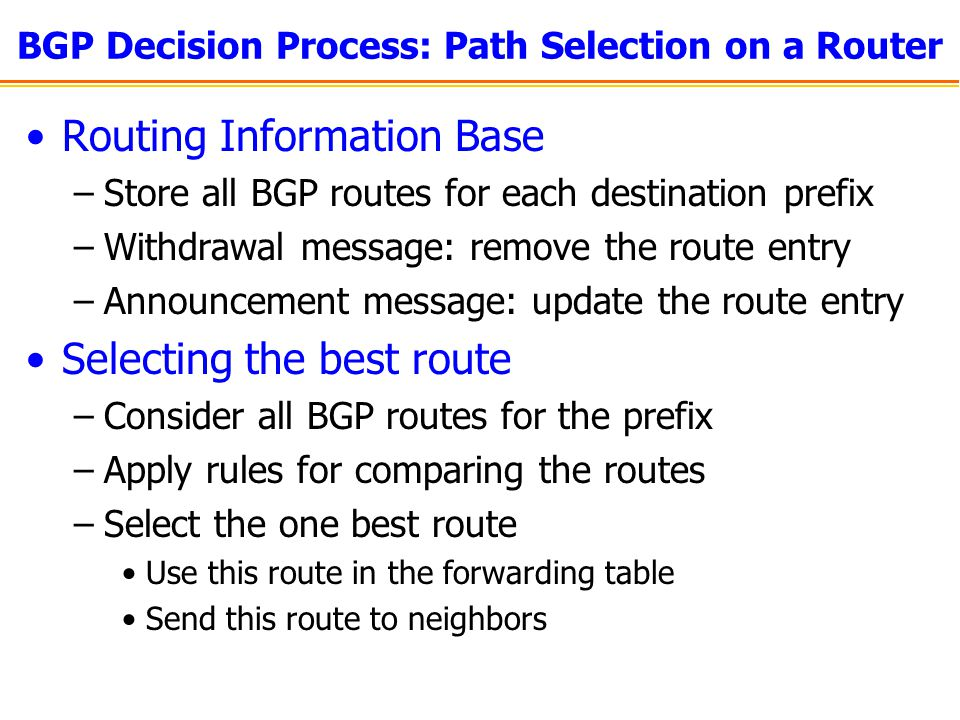 BGP Decision Process: Path Selection on a Router