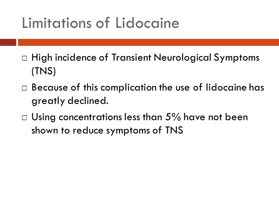 Limitations of Lidocaine