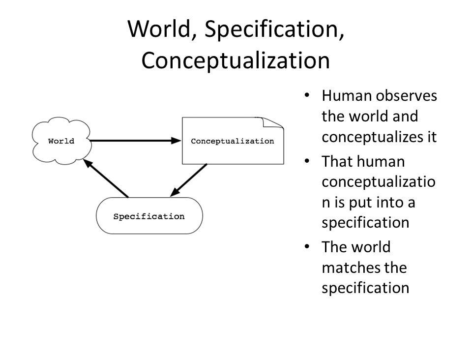 World, Specification, Conceptualization