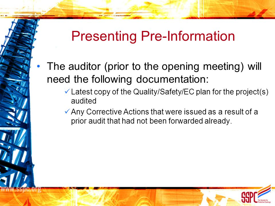 Presenting Pre-Information