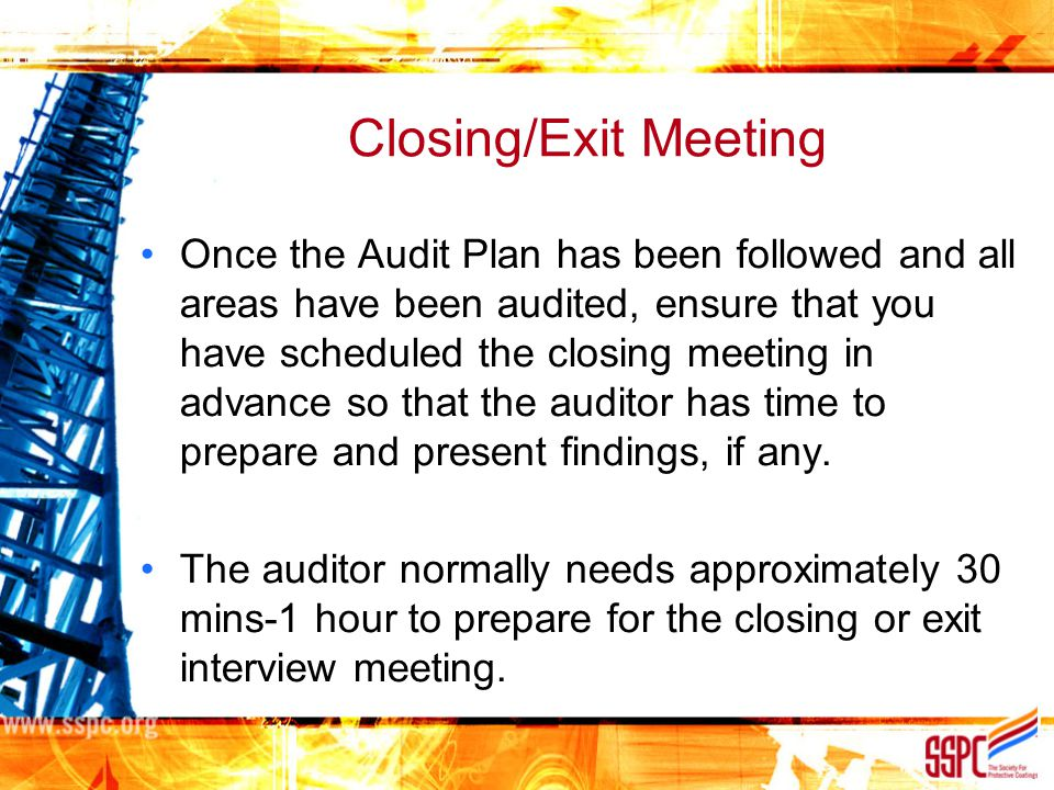 Closing/Exit Meeting