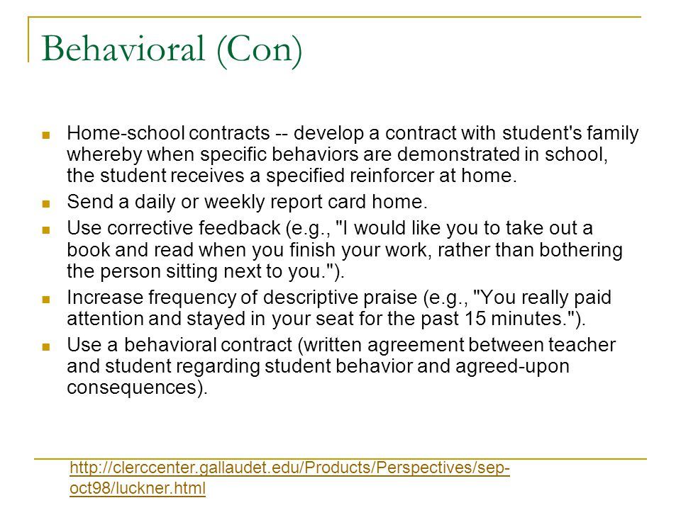 Behavioral (Con)