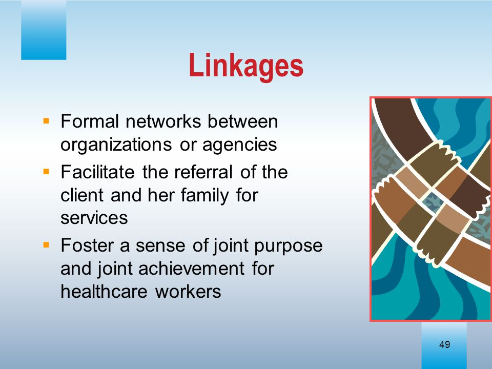 Linkages Formal networks between organizations or agencies