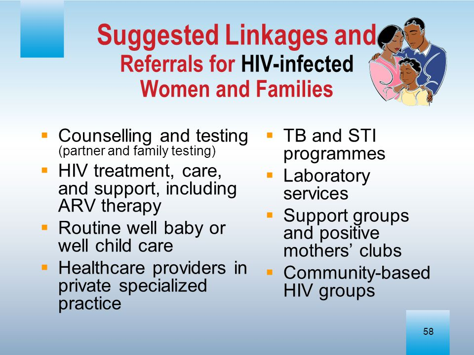 Suggested Linkages and Referrals for HIV-infected Women and Families
