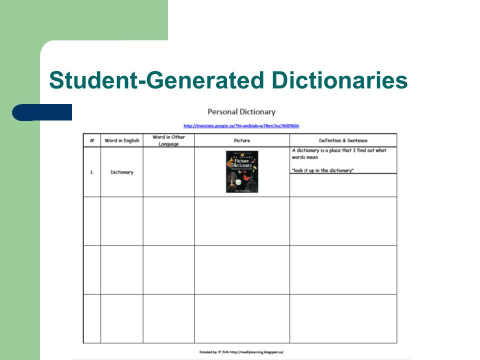 Student-Generated Dictionaries
