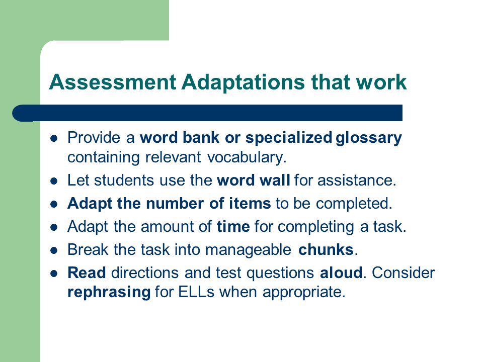 Assessment Adaptations that work
