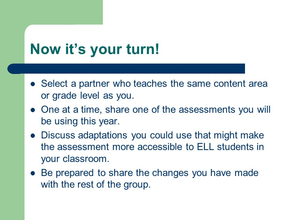 Now it's your turn! Select a partner who teaches the same content area or grade level as you.
