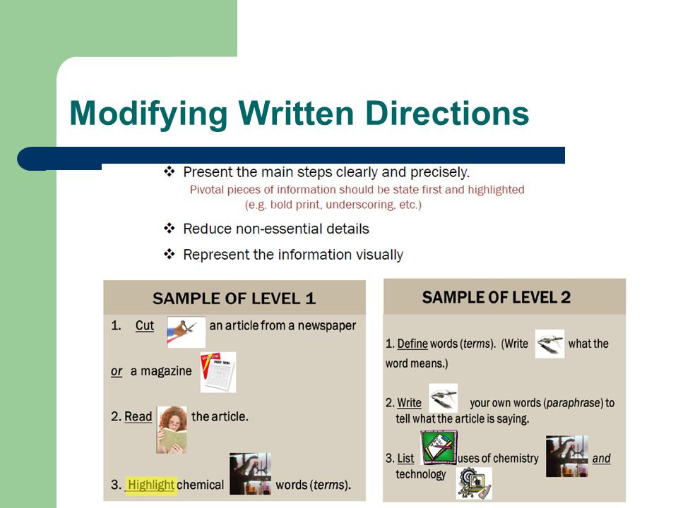 Modifying Written Directions