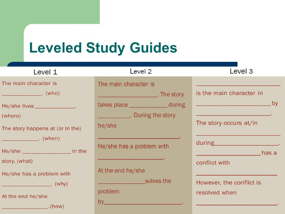 Leveled Study Guides Level 1 Level 2 Level 3