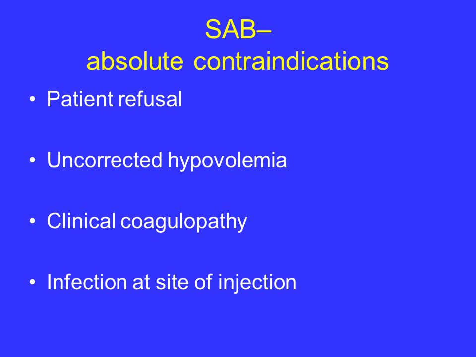 SAB– absolute contraindications
