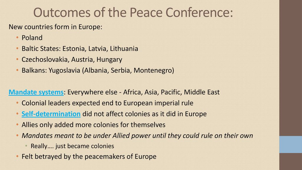 Outcomes of the Peace Conference: