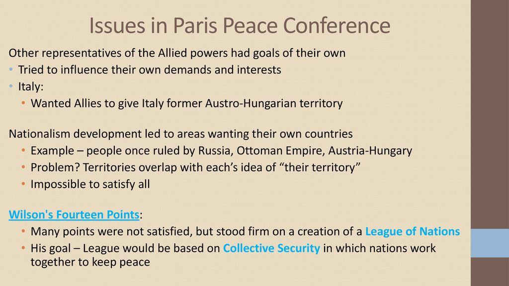 Issues in Paris Peace Conference