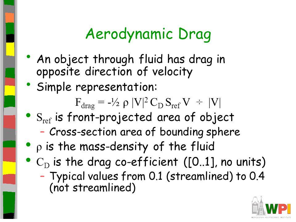 Fdrag = -½ ρ |V|2 CD Sref V ÷ |V|