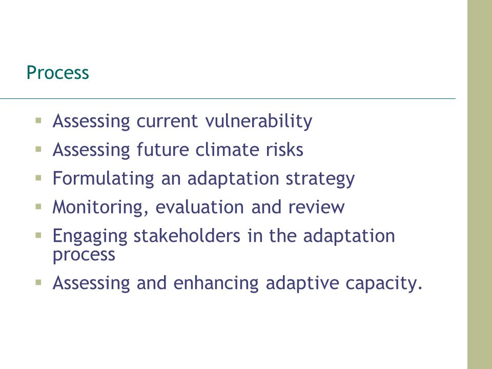 Process Assessing current vulnerability. Assessing future climate risks. Formulating an adaptation strategy.
