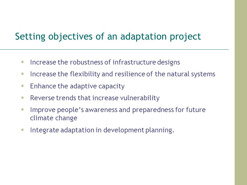 Setting objectives of an adaptation project
