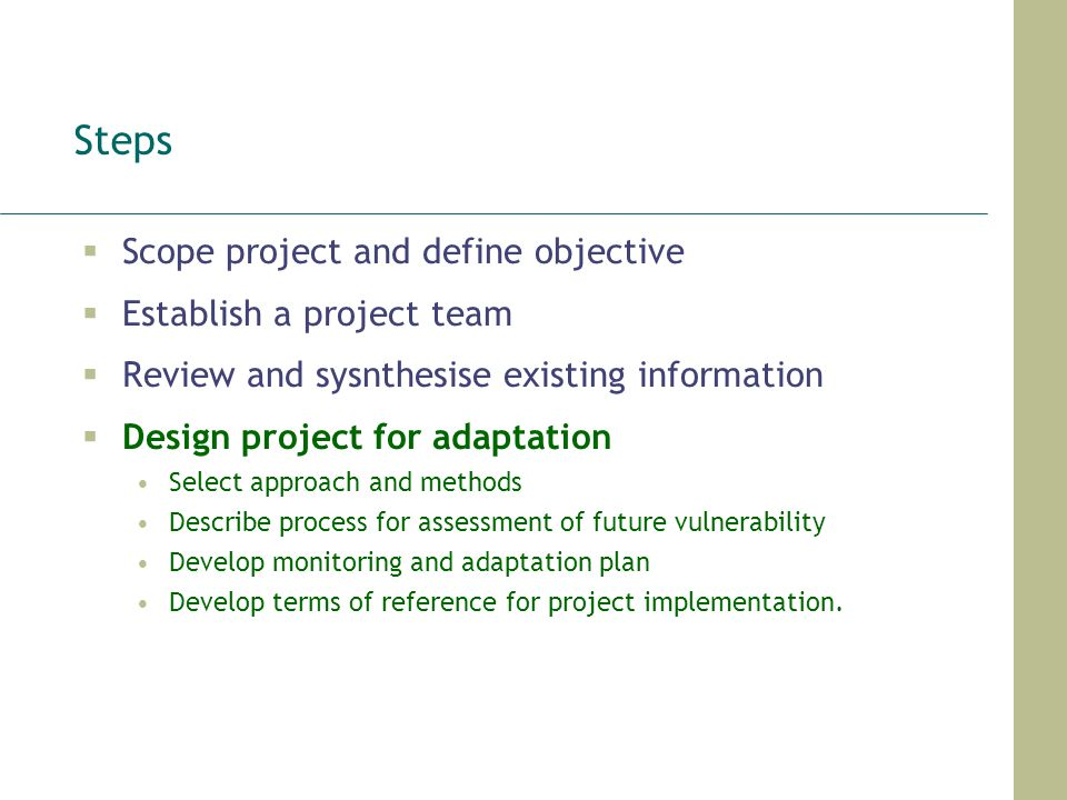Steps Scope project and define objective Establish a project team