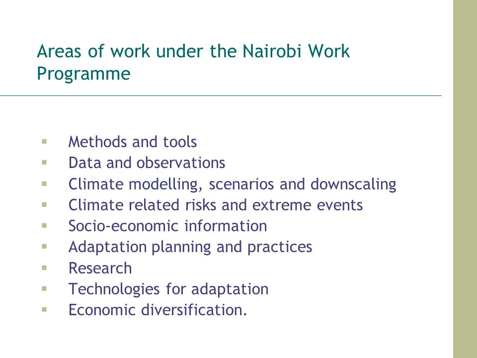Areas of work under the Nairobi Work Programme