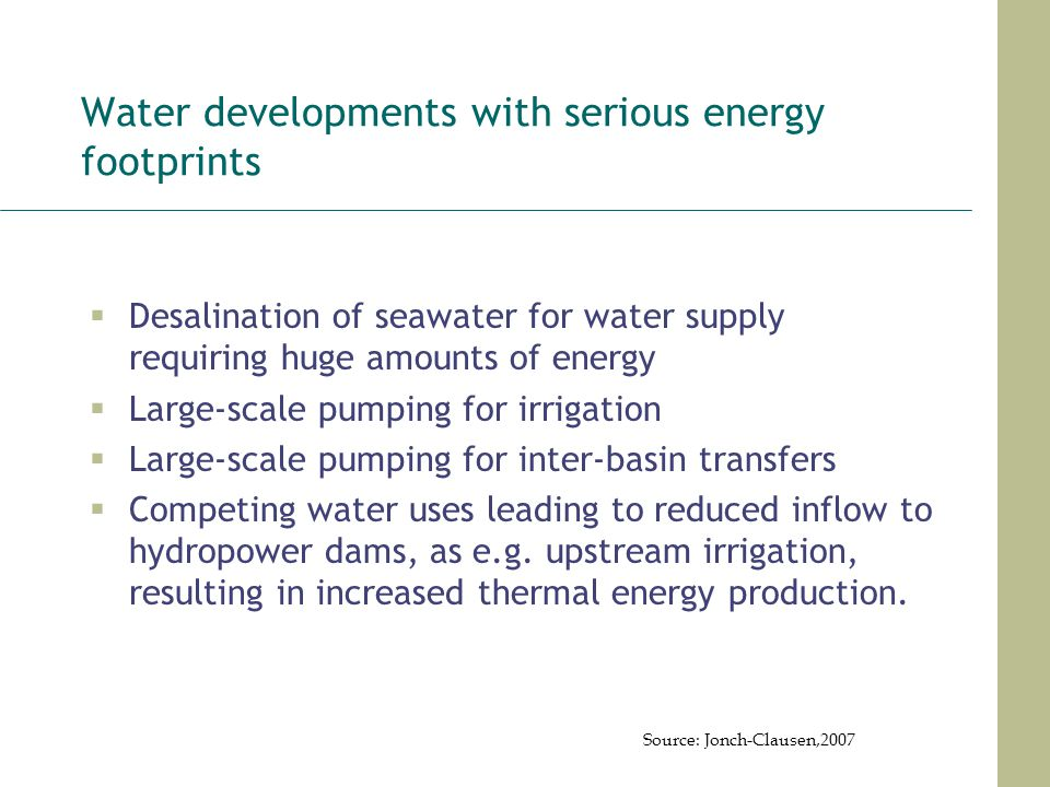 Water developments with serious energy footprints
