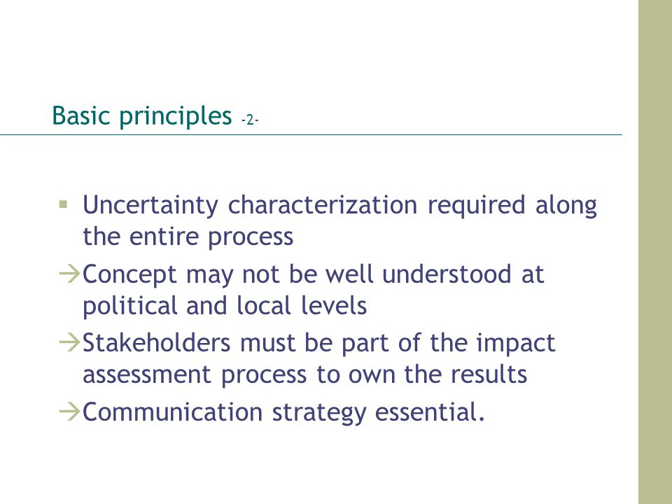 Basic principles -2- Uncertainty characterization required along the entire process.