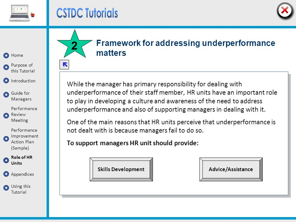 Framework for addressing underperformance matters