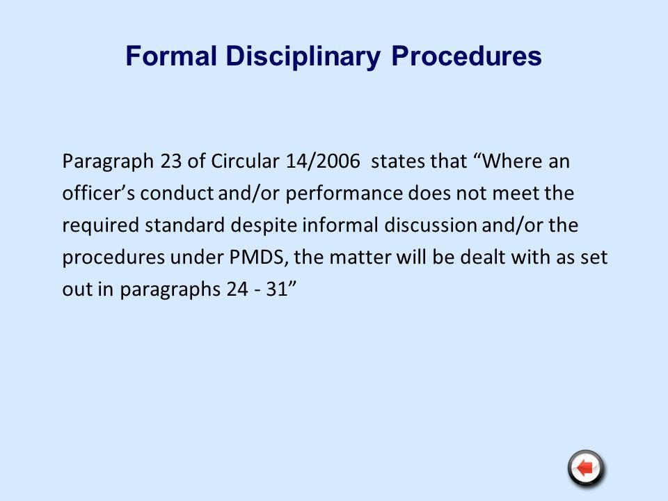 Formal Disciplinary Procedures