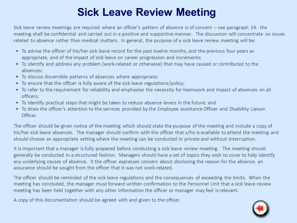 Sick Leave Review Meeting