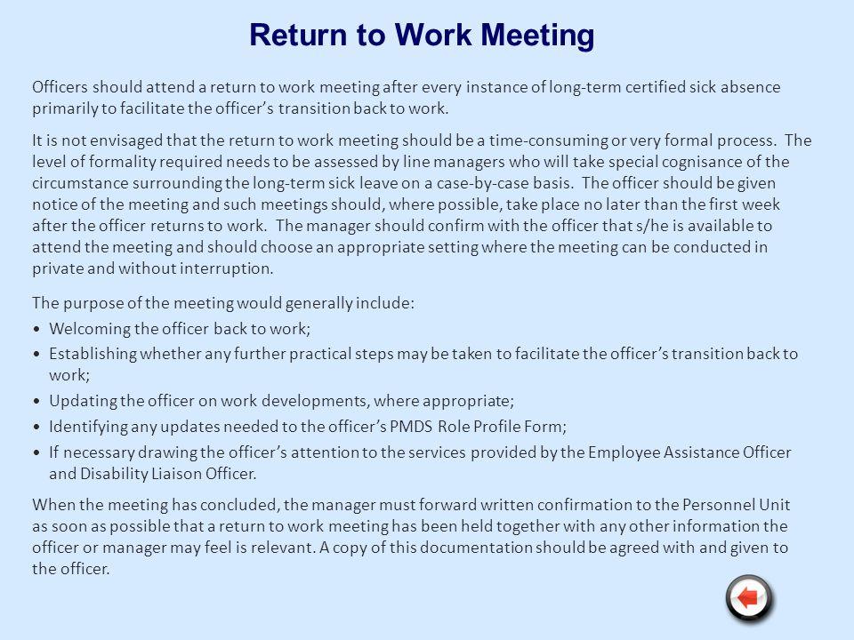 Return to Work Meeting