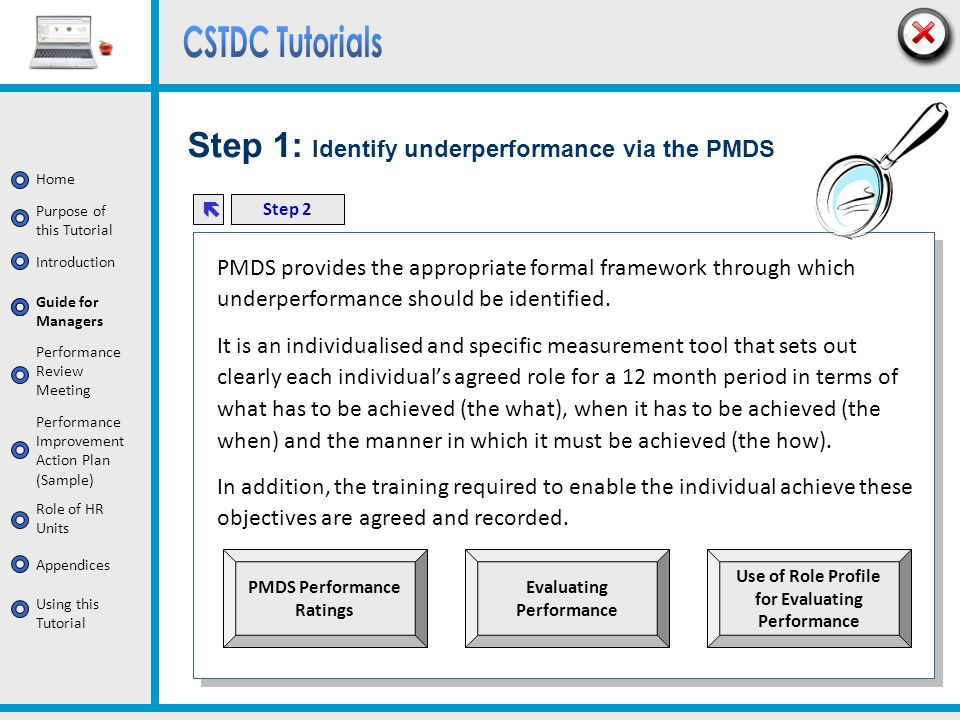Step 1: Identify underperformance via the PMDS