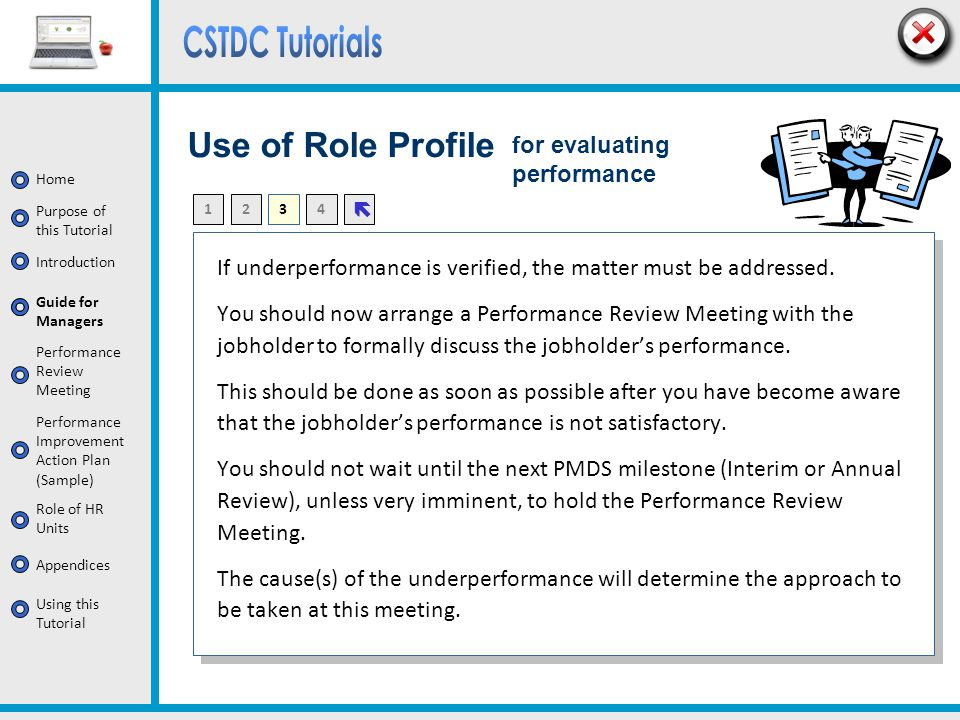 Use of Role Profile for evaluating performance