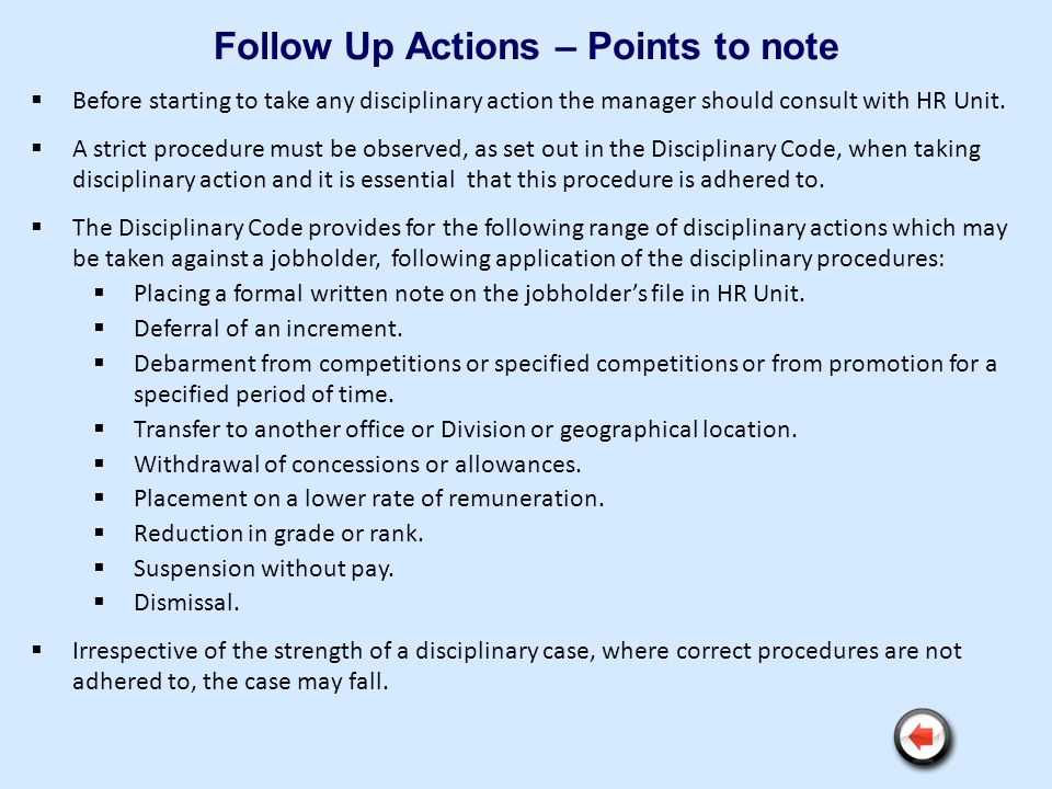 Follow Up Actions – Points to note