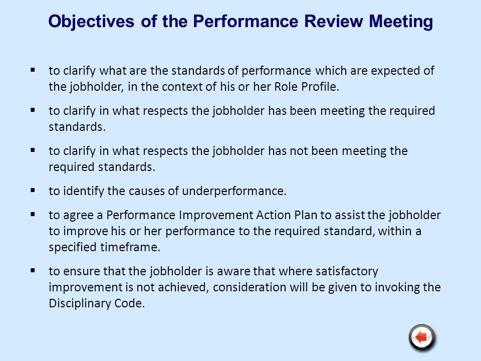 Objectives of the Performance Review Meeting