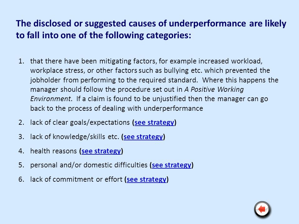 The disclosed or suggested causes of underperformance are likely to fall into one of the following categories: