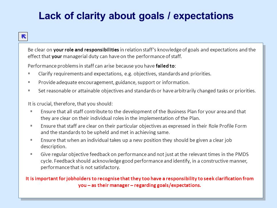 Lack of clarity about goals / expectations
