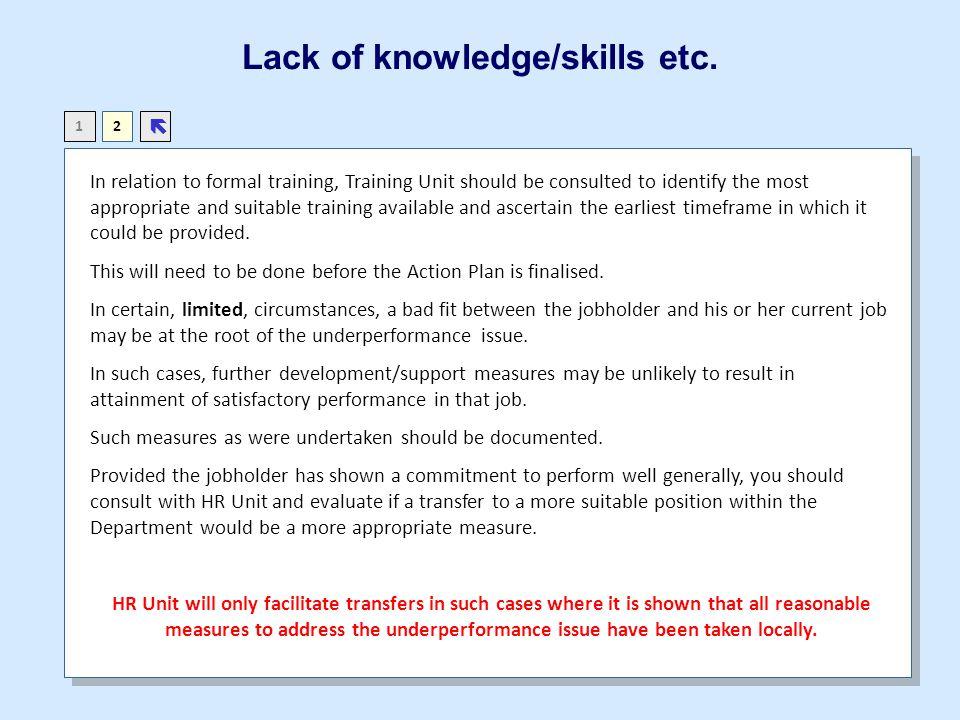 Lack of knowledge/skills etc.
