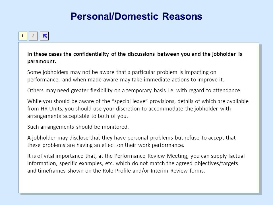 Personal/Domestic Reasons